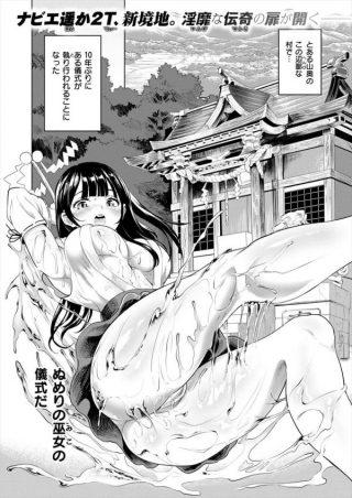 【エロ漫画】ザーメンを受け取る儀式で男に跨がり騎乗位でセックスする巨乳な 巫女www【ナビエ遥か2T エロ同人】